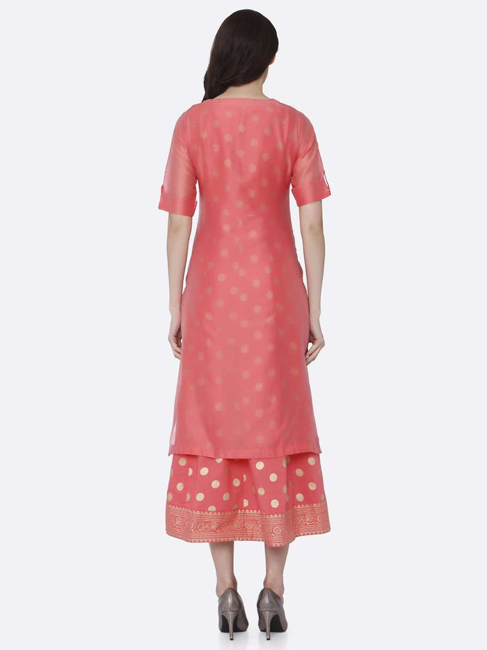 Back Side Pink Embroidered Silk A-Line Dress