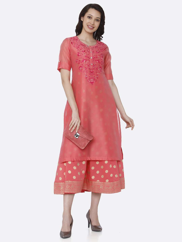 Casual Pink Embroidered Silk A-Line Dress