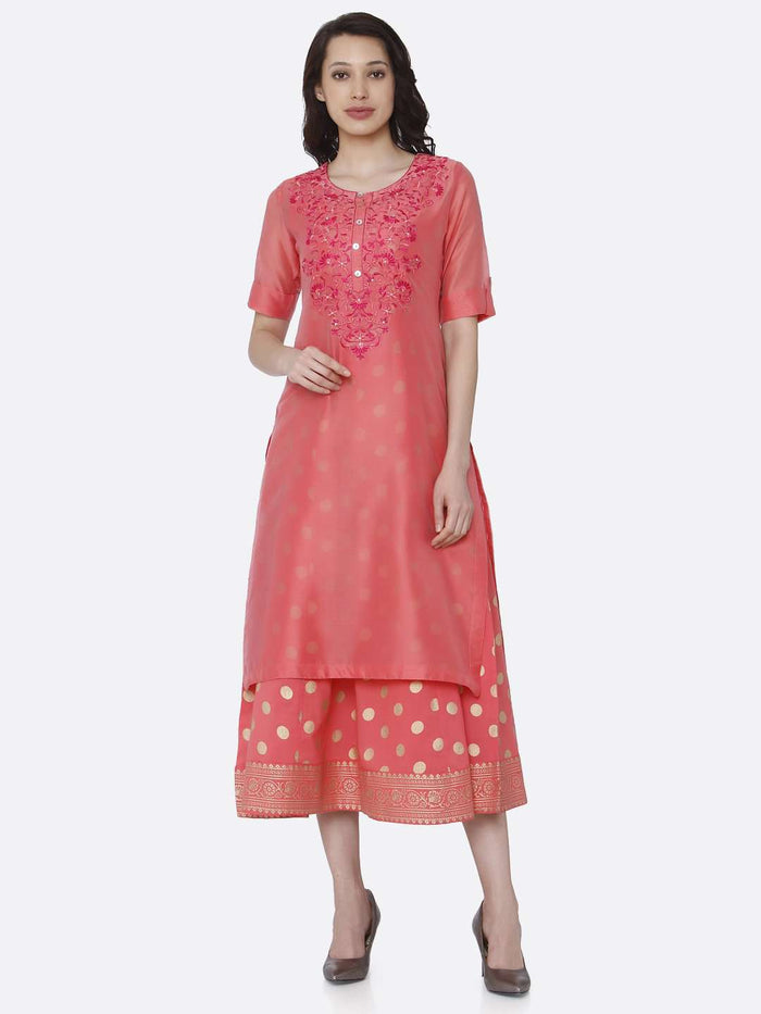 Front Side Pink Embroidered Silk A-Line Dress