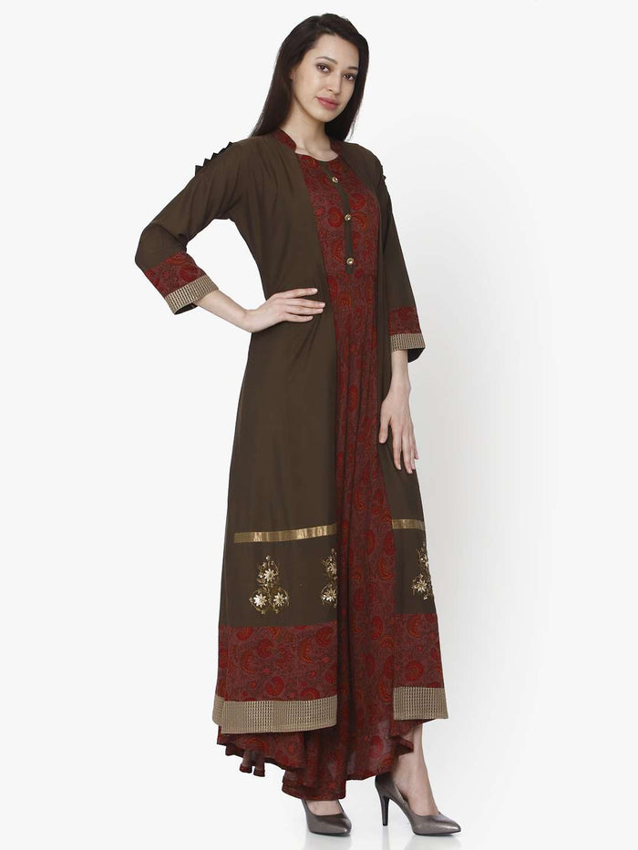 Right Side Maroon Printed Silk Rayon Dress