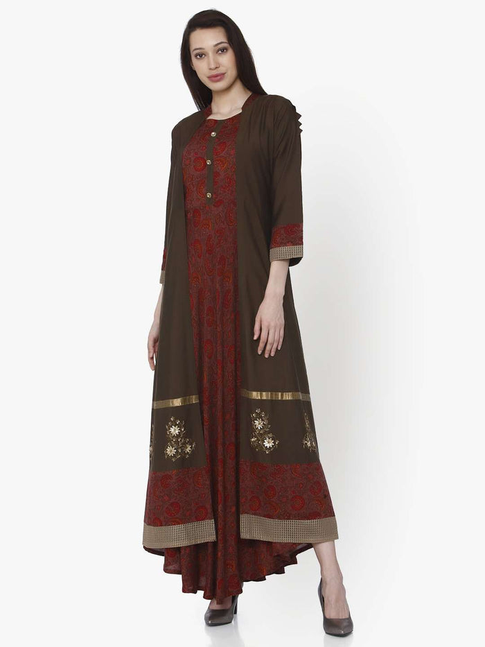 Front Side Maroon Printed Silk Rayon Dress