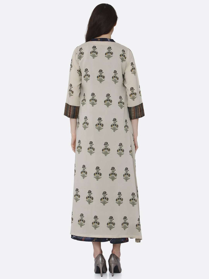 Back Side Multicoloured Printed Silk And Rayon A-Line Dress With Jacket