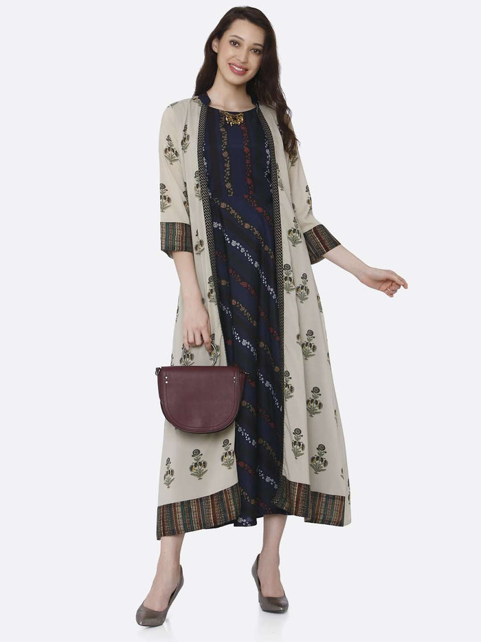Causal Multicoloured Printed Silk And Rayon A-Line Dress With Jacket