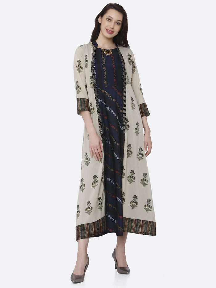 Front Side Multicoloured Printed Silk And Rayon A-Line Dress With Jacket