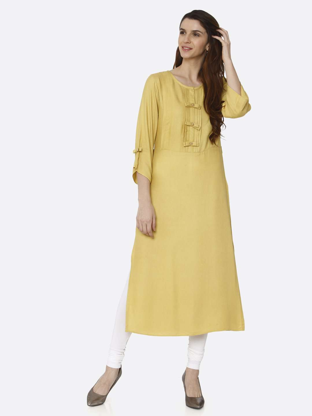 Front Side Yellow Solid Viscose Moss Straight Kurti With White Palazzo Pant
