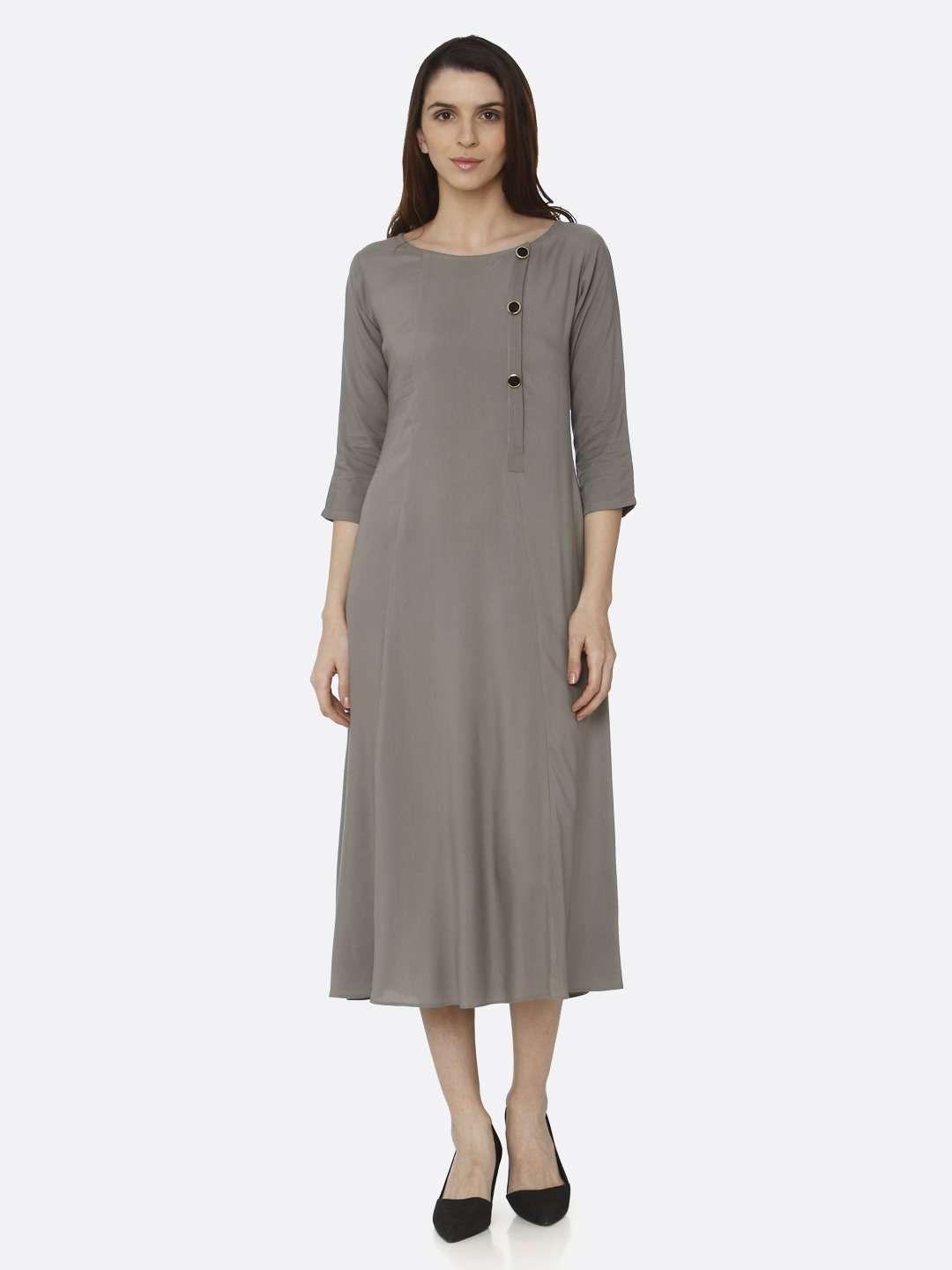 Front Side Grey Solid Rayon Slub A-Line Dress