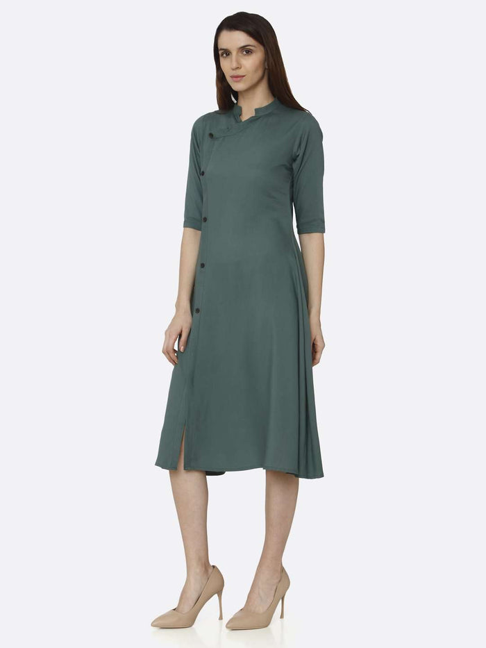Left Side Green Solid Rayon A-Line Dress