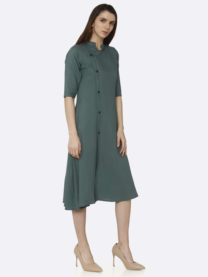 Right Side Green Solid Rayon A-Line Dress