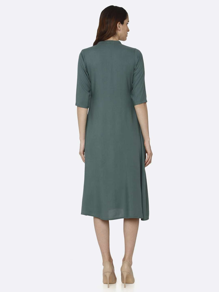 Back Side Green Solid Rayon A-Line Dress