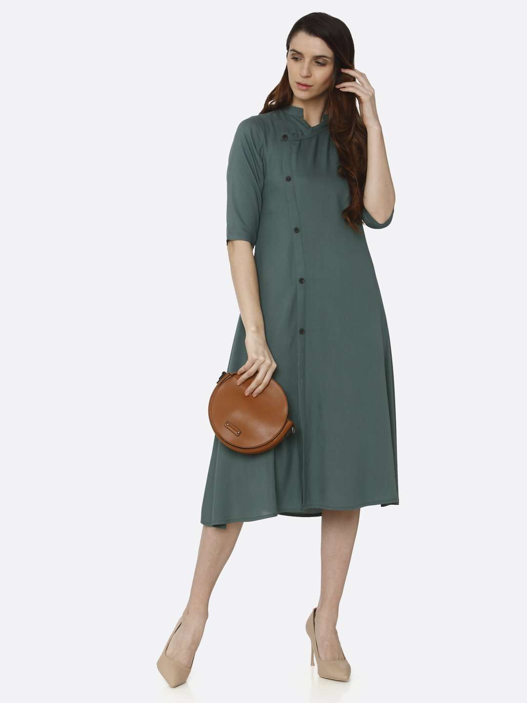 Front Side Green Solid Rayon A-Line Dress