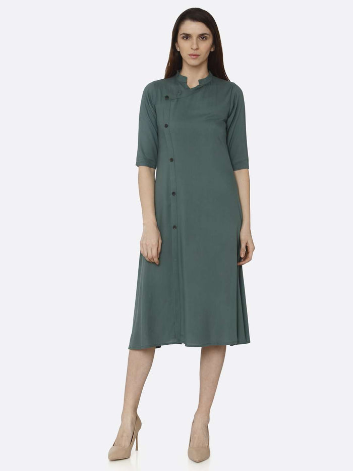 Casual Green Solid Rayon A-Line Dress