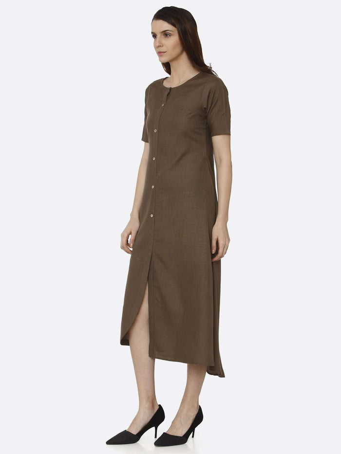 Left Side Brown Solid Rayon Flex A-Line Dress