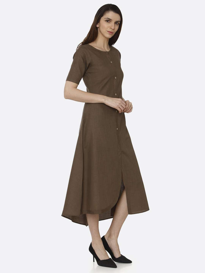 Right Side Brown Solid Rayon Flex A-Line Dress
