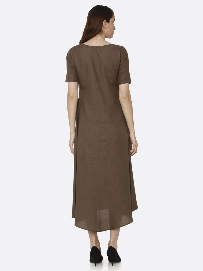 Back Side Brown Solid Rayon Flex A-Line Dress