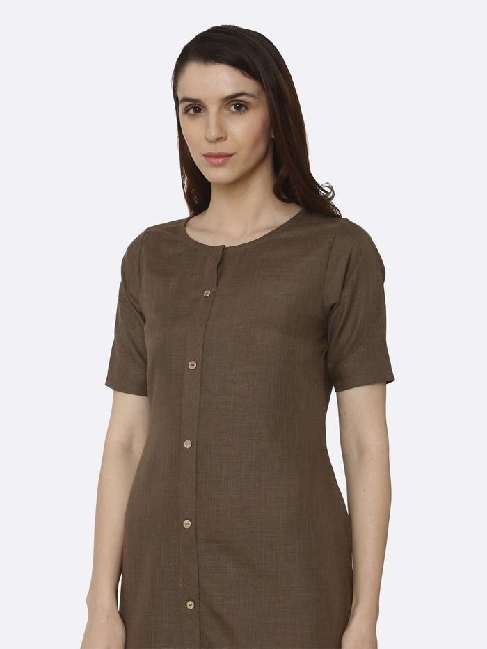 Front Side Solid Rayon Flex A-Line Dress With Brown Color