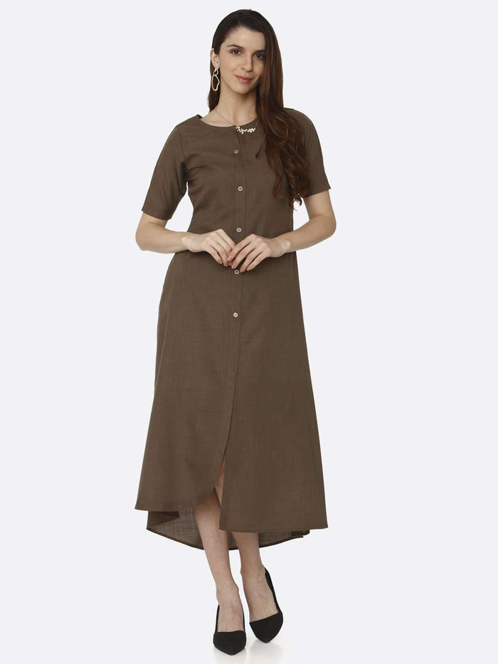 Casual Brown Solid Rayon Flex A-Line Dress