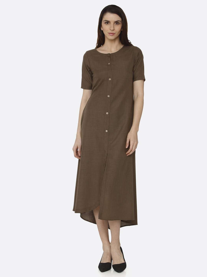 Front Side Brown Solid Rayon Flex A-Line Dress