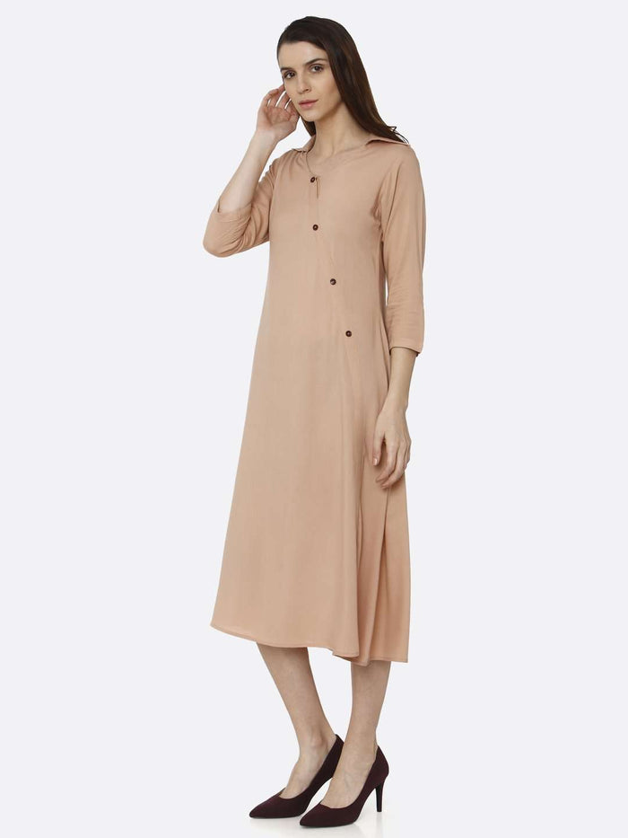 Left Side Peach Solid Rayon Flex A-Line Dress