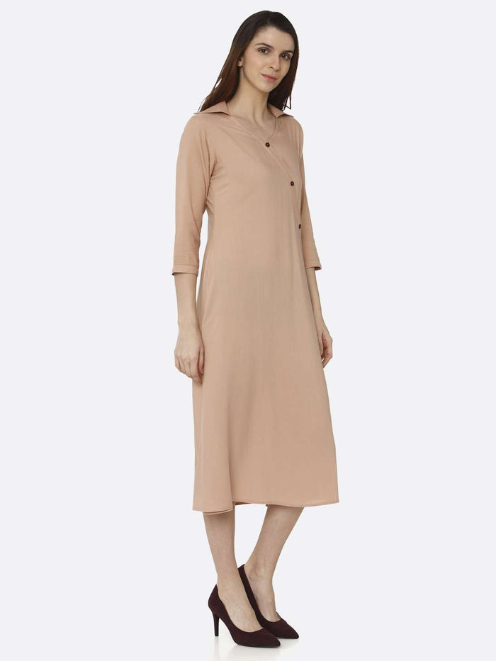 Right Side Peach Solid Rayon Flex A-Line Dress