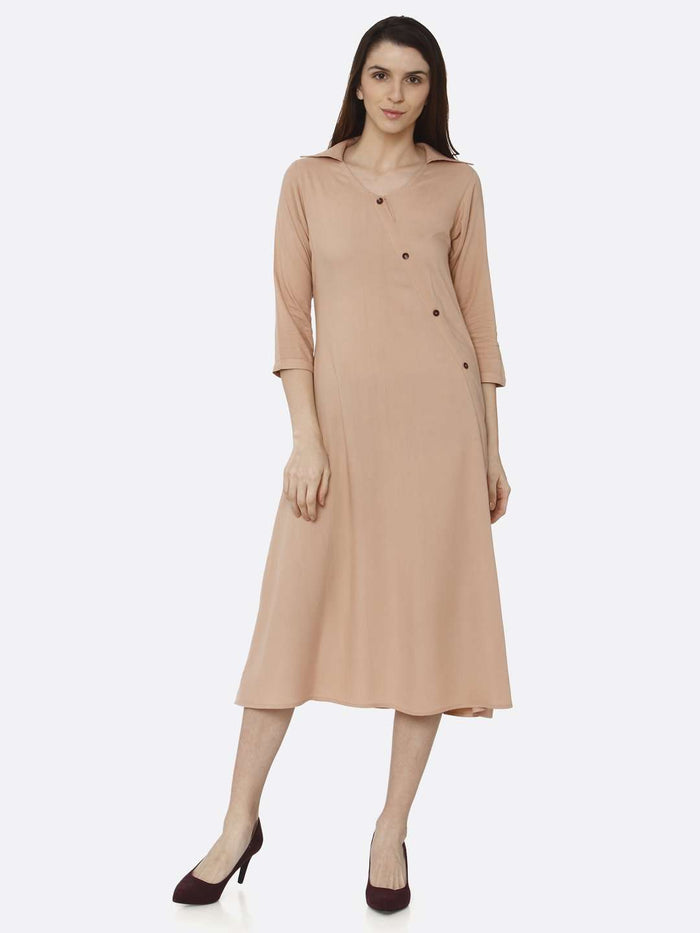 Front Side Peach Solid Rayon Flex A-Line Dress