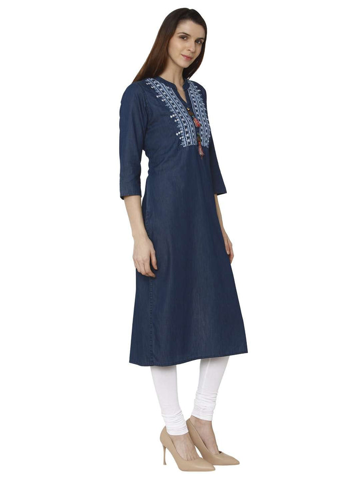 Right Side Sparrowhawk Blue Embroidered Denim Kurti With White Palazzo Pant