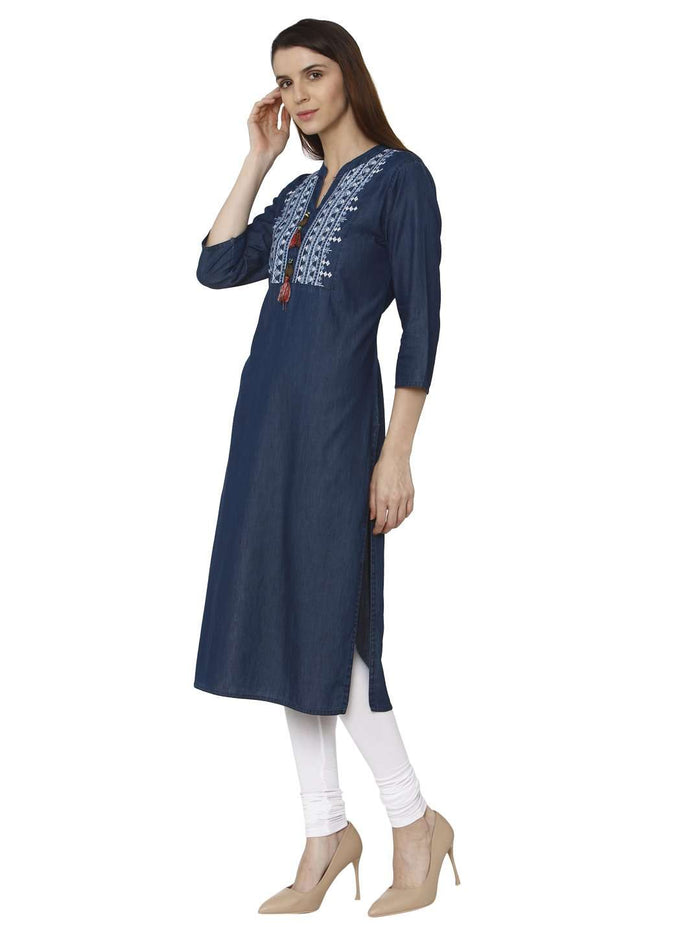 Left Side Sparrowhawk Blue Embroidered Denim Kurti With White Palazzo Pant