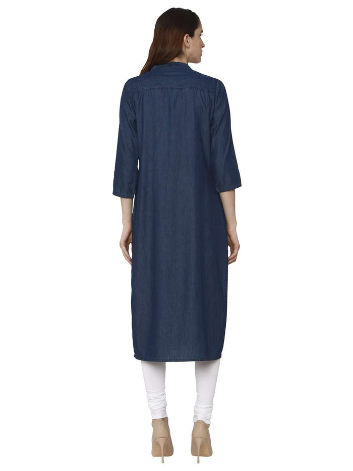 Back Side Sparrowhawk Blue Embroidered Denim Kurti With Palazzo Pant