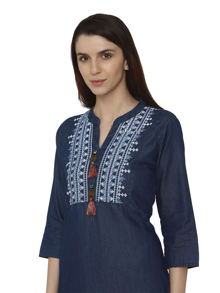 Front Side Sparrowhawk Blue Embroidered Denim Kurti
