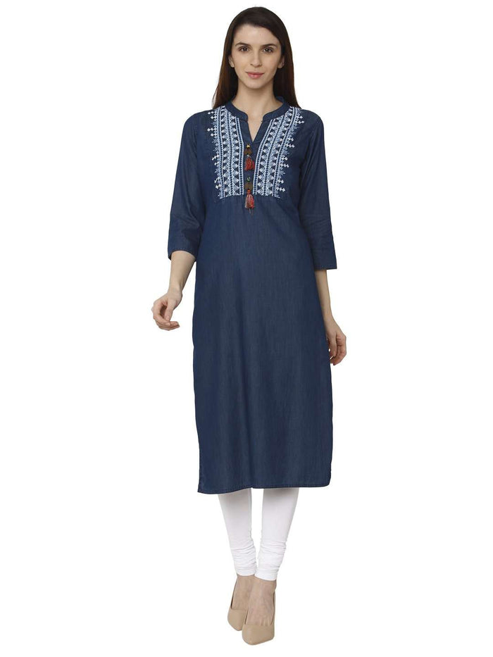 Full Front Side Sparrowhawk Blue Embroidered Denim Kurti With White Palazzo Pant