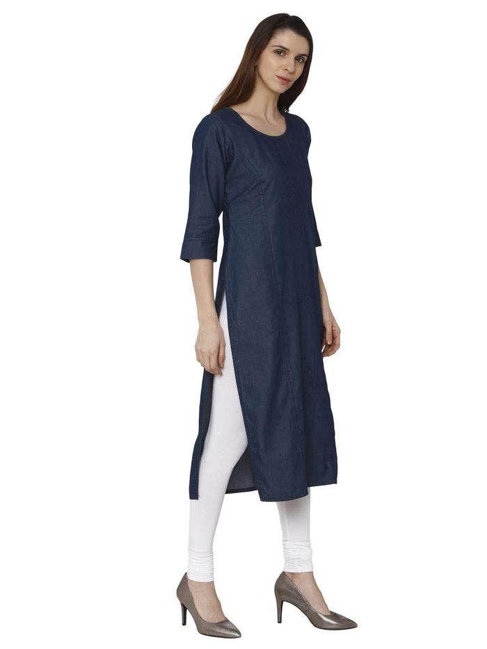 Right Side Navy Blue Plain Denim Straight Kurti With White Palazzo Pant