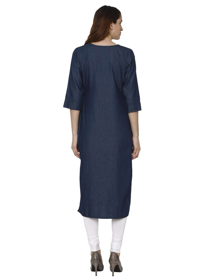 Back Side Navy Blue Plain Denim Straight Kurti With White Palazzo Pant