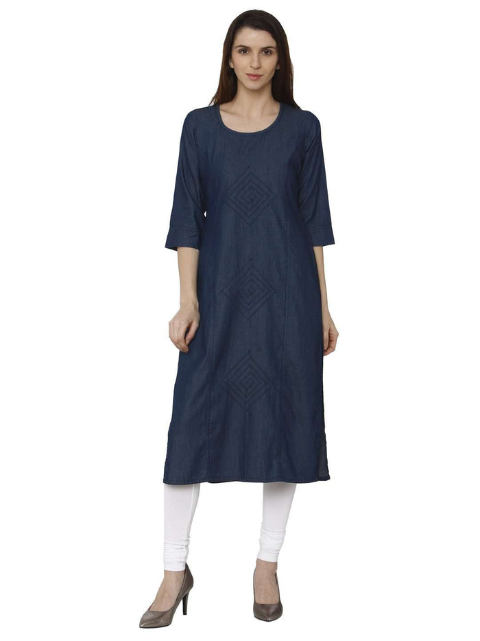 Front Side Casual Navy Blue Plain Denim Straight Kurti With White Palazzo Pant