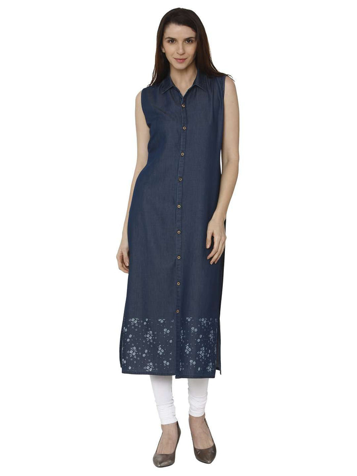 Front Side Martin Blue Printed Denim Kurti With White Palazzo Pant