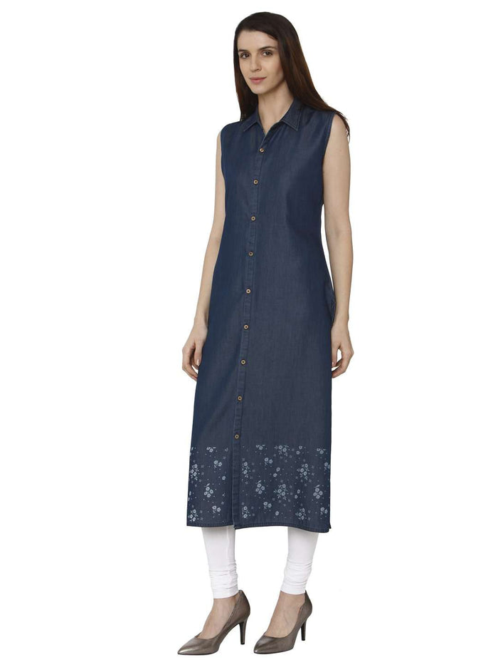 Left Side Martin Blue Printed Denim Kurti With White Palazzo Pant