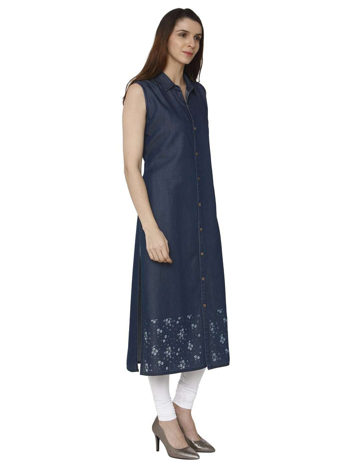 Right Side Martin Blue Printed Denim Kurti With White Palazzo Pant