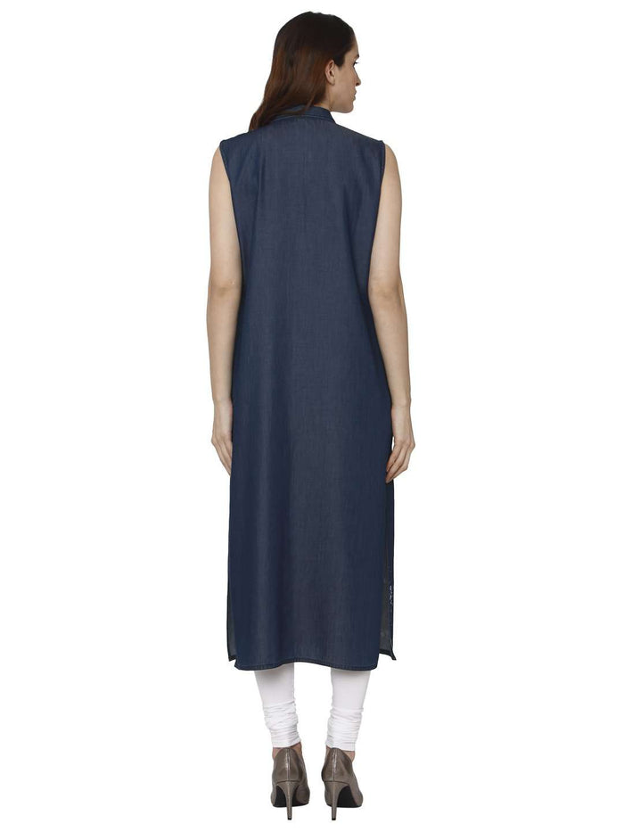 Back Side Martin Blue Printed Denim Kurti With White Palazzo Pant