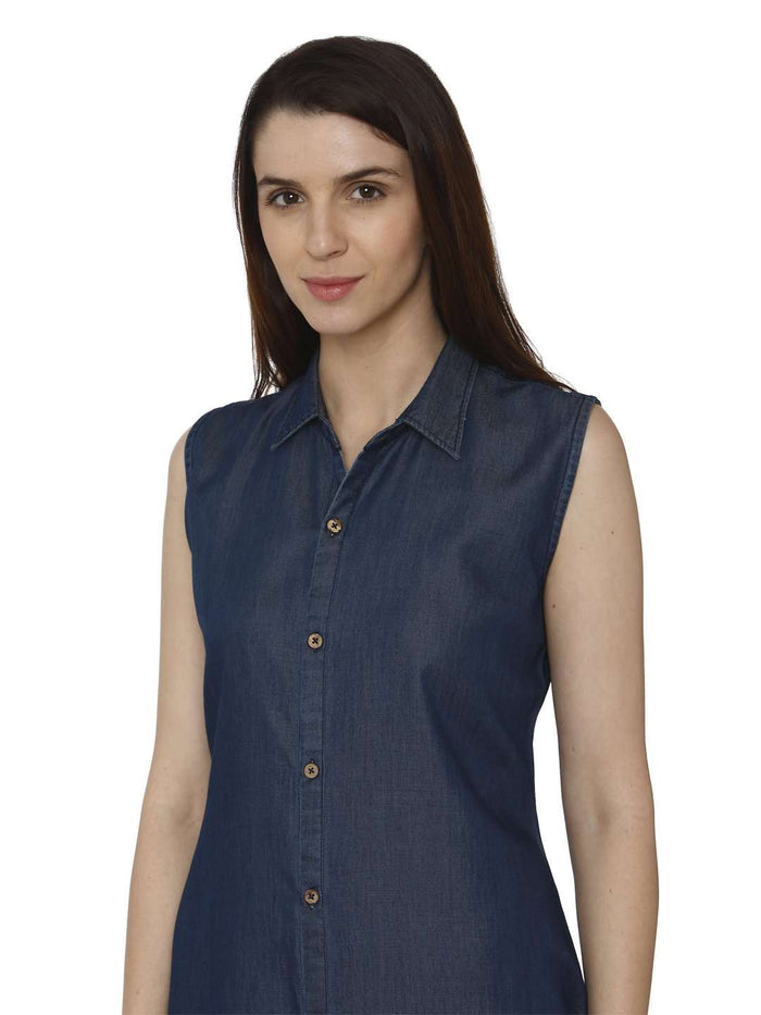 Front Side Martin Blue Printed Denim Kurti