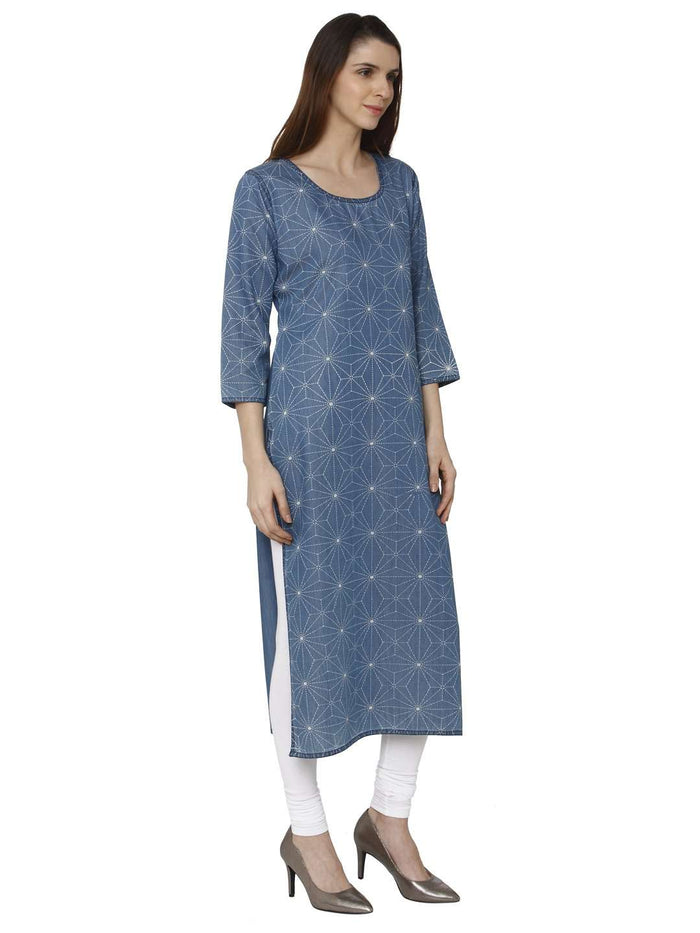 Right Side Teal Blue Printed Denim Kurti With White Palazzo Pant