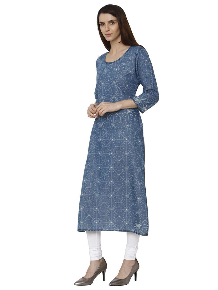 Left Side Teal Blue Printed Denim Kurti With Palazzo Pant