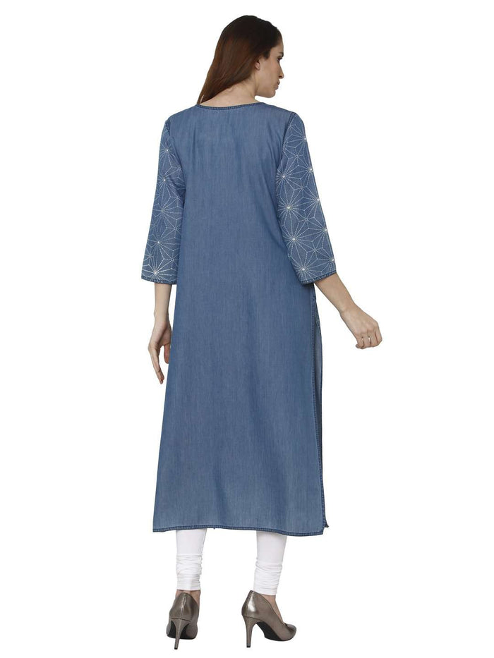 Back Side Teal Blue Printed Denim Kurti With White Palazzo Pant