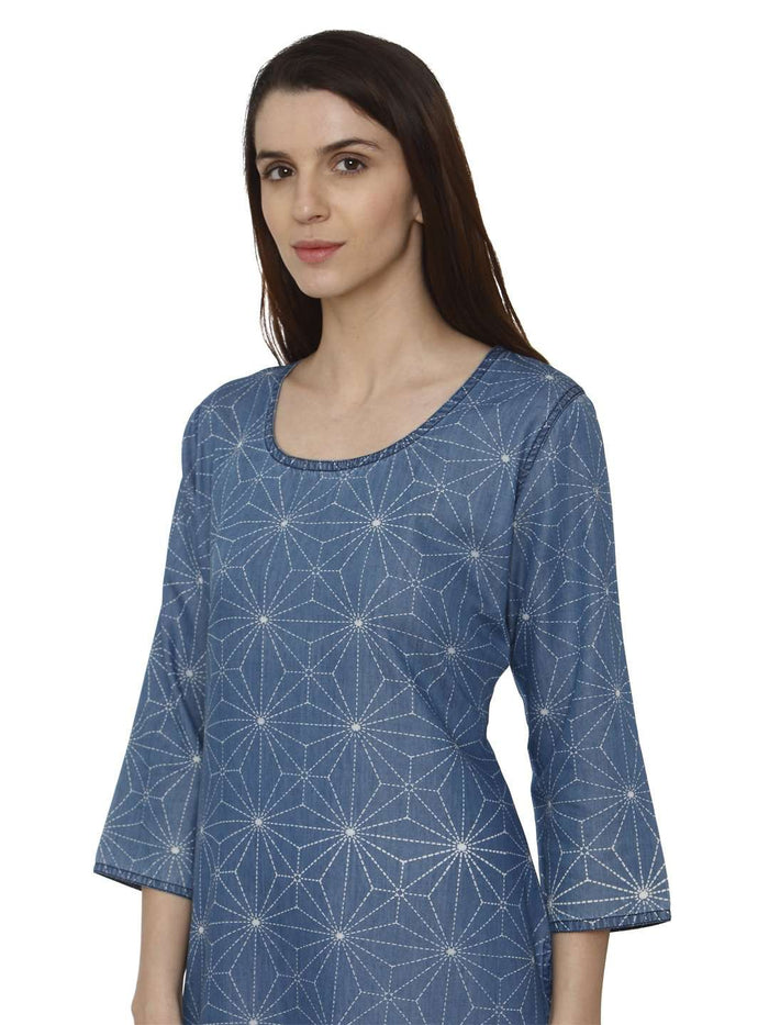 Left Side Teal Blue Printed Denim Kurti