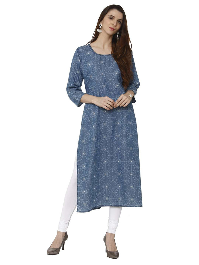 Casual Teal Blue Printed Denim Kurti With White Palazzo Pant