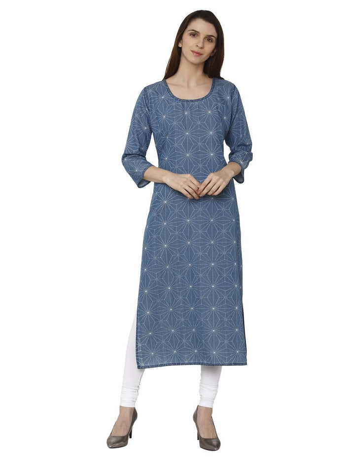 Front Side Teal Blue Printed Denim Kurti With White Palazzo Pant