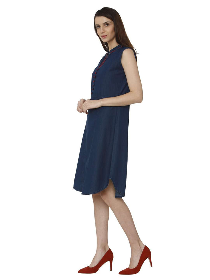Left Side Embroidered Denim Kurti With Bunting Blue Color