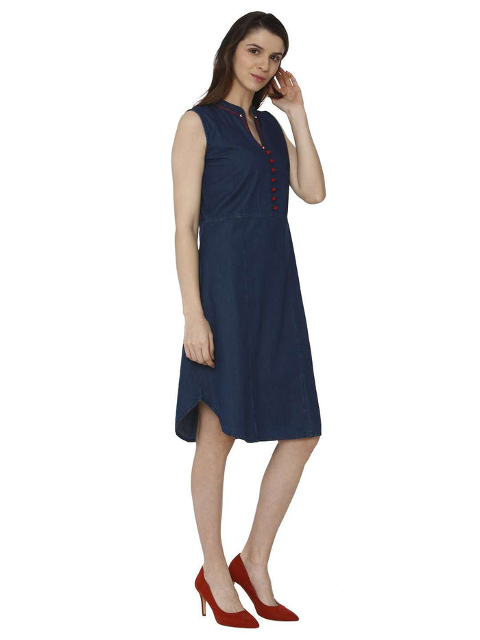 Right Side Embroidered Denim Kurti With Bunting Blue Color