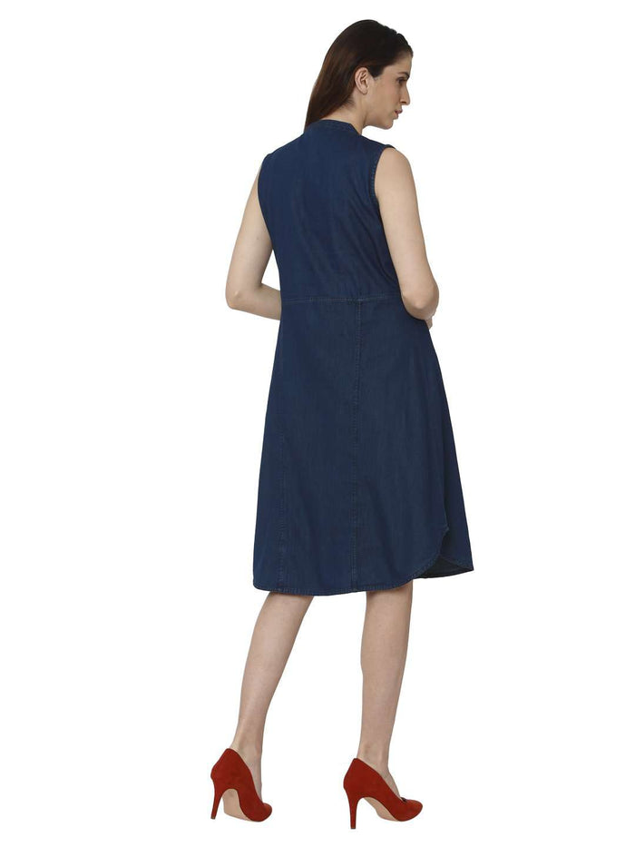 Back Side Embroidered Denim Kurti With Bunting Blue Color