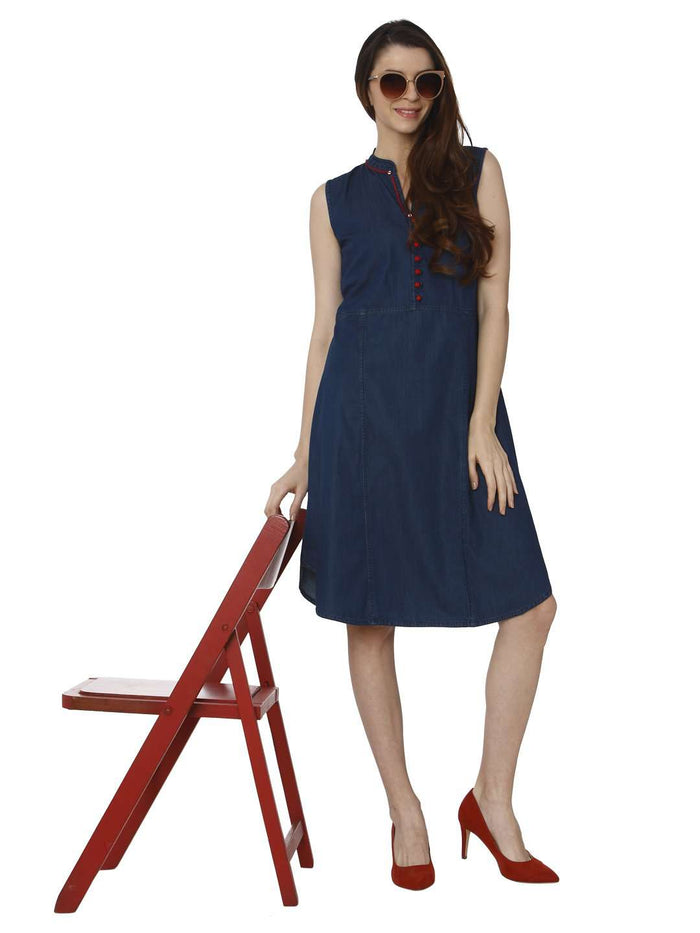 Casual Embroidered Denim Kurti With Bunting  Blue Color