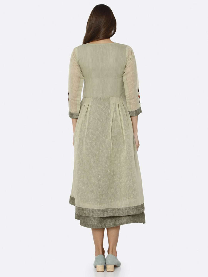 Back Side Green Solid Muslin A-Line Dress
