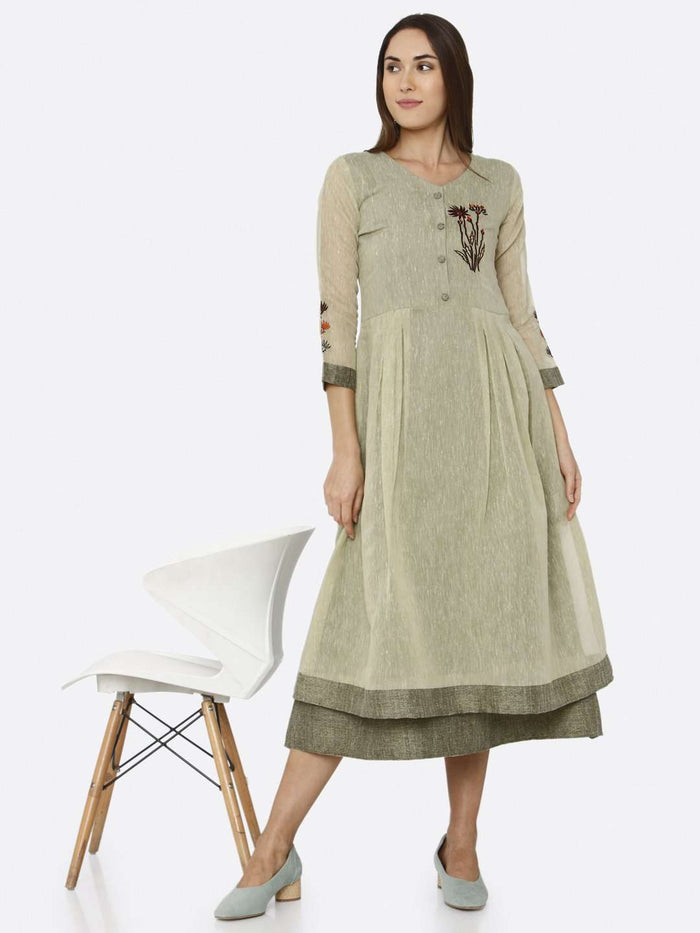 Casual Green Solid Muslin A-Line Dress