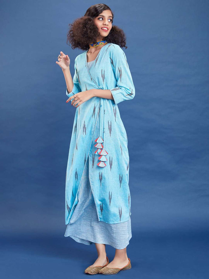 Left Side Blue Ikkat Printed Cotton Dress